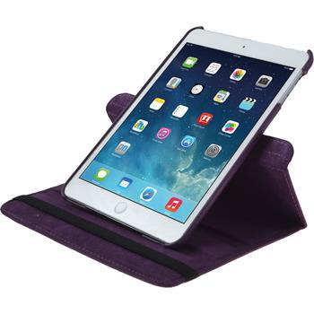 Kunst-Lederhülle iPad Mini 3 2 1 360° lila + 2 Schutzfolien
