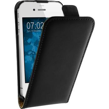 Kunst-Lederhülle iPhone 4S Flip-Case schwarz