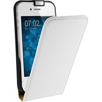Kunst-Lederhülle iPhone 4S Flip-Case weiß