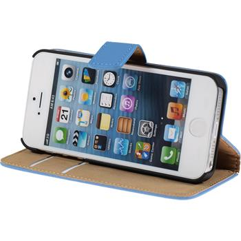 Artificial Leather Case for Apple iPhone 5 / 5s Premium blue