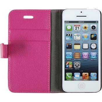 Kunst-Lederhülle iPhone 5c Premium pink