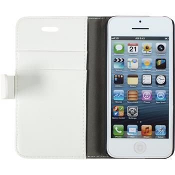 Kunst-Lederhülle iPhone 5c Premium weiß