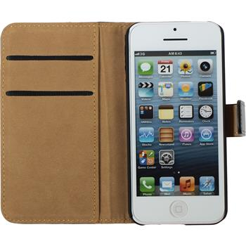 Kunst-Lederhülle iPhone 5c Wallet schwarz