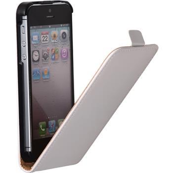 Kunst-Lederhülle für Apple iPhone SE Flip-Case weiß + 2 Schutzfolien