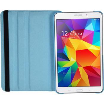 Kunst-Lederhülle für Samsung Galaxy Tab 4 8.0 360° hellblau + 2 Schutzfolien