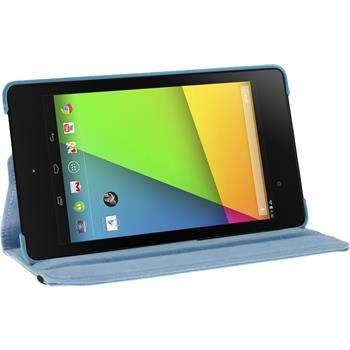 Artificial Leather Case for Google Nexus 7 2013 360° light blue