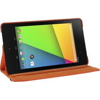 Kunst-Lederhülle Nexus 7 2013 360° orange