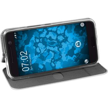 Kunst-Lederhülle für HTC 10 Etui grau + 2 Schutzfolien