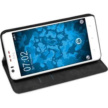 Kunst-Lederhülle für HTC Desire 825 Book-Case weiß + 2 Schutzfolien
