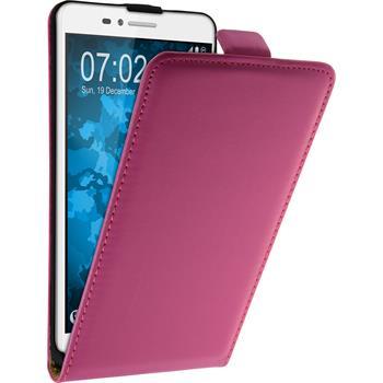 Kunst-Lederhülle für Huawei Honor 5X Flip-Case pink + 2 Schutzfolien