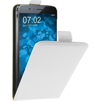 Kunst-Lederhülle für Huawei Honor 8 Flip-Case weiß + 2 Schutzfolien