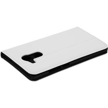 Kunst-Lederhülle Mate 8 Book-Case weiß + 2 Schutzfolien