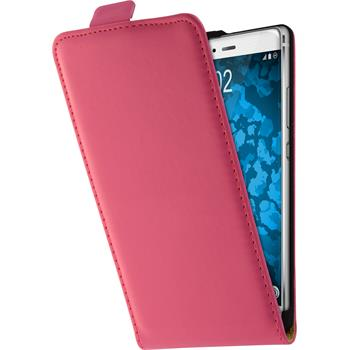 Kunst-Lederhülle P9 Flip-Case pink + 2 Schutzfolien