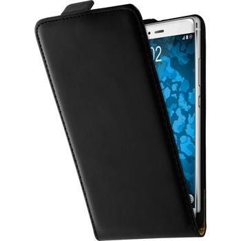 Kunst-Lederhülle für Huawei P9 Flip-Case schwarz + 2 Schutzfolien