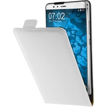 Kunst-Lederhülle für Huawei P9 Plus Flip-Case weiß + 2 Schutzfolien