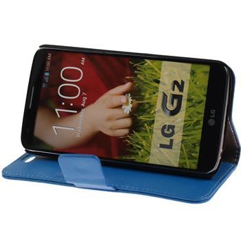 Kunst-Lederhülle für LG G2 Premium blau + 2 Schutzfolien