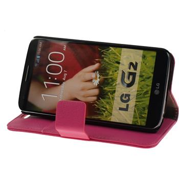 Artificial Leather Case for LG G2 Premium hot pink