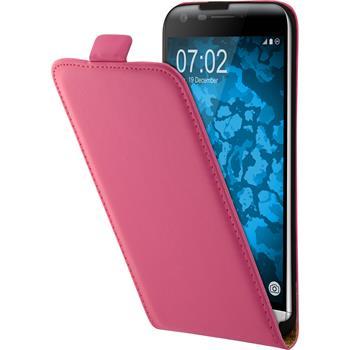 Kunst-Lederhülle G5 Flip-Case pink + 2 Schutzfolien