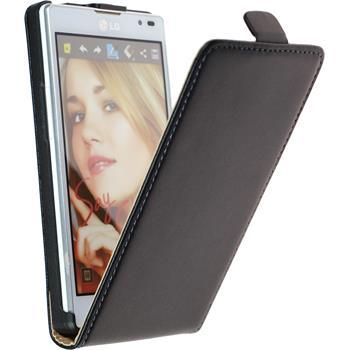 Kunst-Lederhülle für LG Optimus L9 Flip-Case schwarz + 2 Schutzfolien