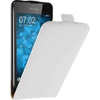 Kunst-Lederhülle für Microsoft Lumia 650 Flip-Case weiß + 2 Schutzfolien