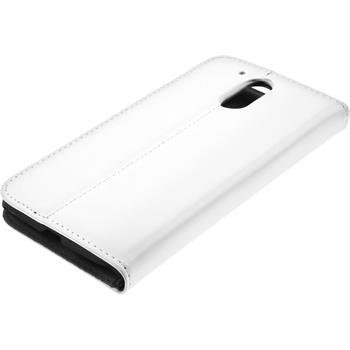 Kunst-Lederhülle Moto G4 Book-Case weiß + 2 Schutzfolien