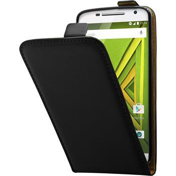 Kunst-Lederhülle Moto X Play Flip-Case schwarz