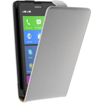 Kunst-Lederhülle für Nokia XL Flip-Case weiß + 2 Schutzfolien