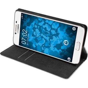 Kunst-Lederhülle für Samsung Galaxy C5 Book-Case weiß + 2 Schutzfolien
