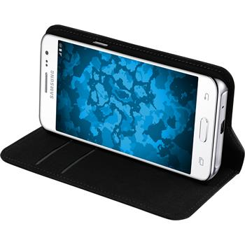 Kunst-Lederhülle Galaxy J2 Book-Case schwarz