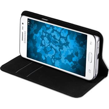 Kunst-Lederhülle für Samsung Galaxy J2 Book-Case weiß Case