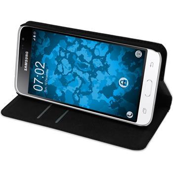 Kunst-Lederhülle für Samsung Galaxy J3 (2016) Book-Case weiß + 2 Schutzfolien