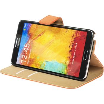 Artificial Leather Case for Samsung Galaxy Note 3 Wallet orange