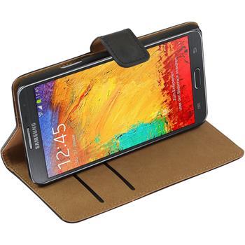 Kunst-Lederhülle Galaxy Note 3 Neo Wallet schwarz