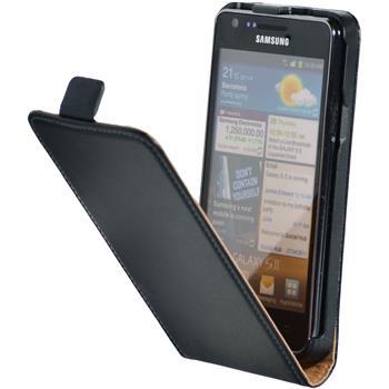 Kunst-Lederhülle Galaxy S2 Flip-Case schwarz + 2 Schutzfolien