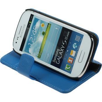 Kunst-Lederhülle Galaxy S3 Mini Premium blau + 2 Schutzfolien