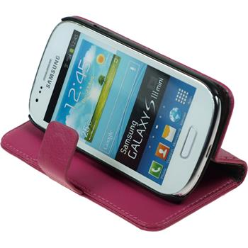 Kunst-Lederhülle Galaxy S3 Mini Premium pink + 2 Schutzfolien