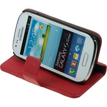 Artificial Leather Case for Samsung Galaxy S3 Mini Premium red