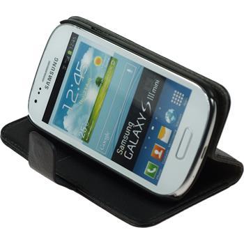 Kunst-Lederhülle Galaxy S3 Mini Premium schwarz