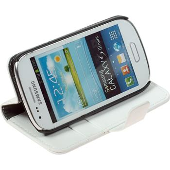 Artificial Leather Case for Samsung Galaxy S3 Mini Premium white