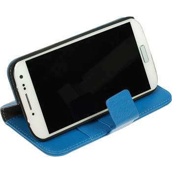 Artificial Leather Case for Samsung Galaxy S4 Premium blue