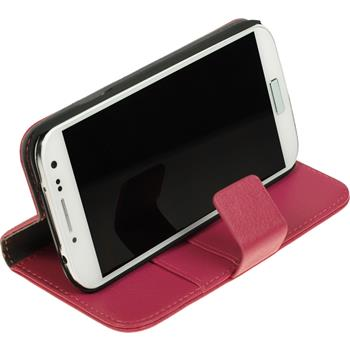 Artificial Leather Case for Samsung Galaxy S4 Premium hot pink