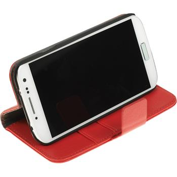 Artificial Leather Case for Samsung Galaxy S4 Premium red