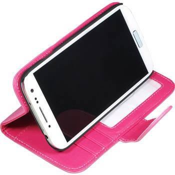 Artificial Leather Case for Samsung Galaxy S4 Wallet pink