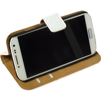 Kunst-Lederhülle Galaxy S4 Wallet weiß