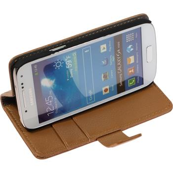 Artificial Leather Case for Samsung Galaxy S4 Mini Premium brown
