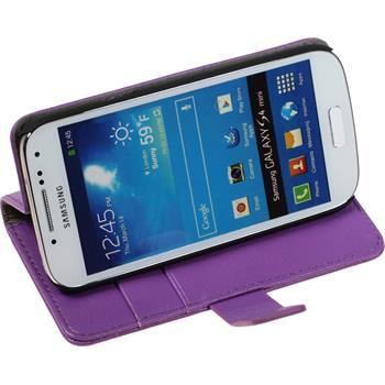 Artificial Leather Case for Samsung Galaxy S4 Mini Premium purple