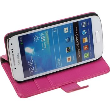 Artificial Leather Case for Samsung Galaxy S4 Mini Premium hot pink