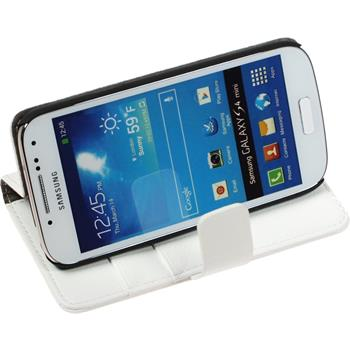 Artificial Leather Case for Samsung Galaxy S4 Mini Premium white