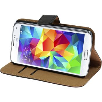 Artificial Leather Case for Samsung Galaxy S5 Wallet black