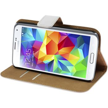 Artificial Leather Case for Samsung Galaxy S5 Wallet white